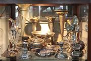 Sale 8360 - Lot 164 - Silver Plated Claret Jug with Other Plated Wares incl. Trumpet Vases & Lidded Tureens