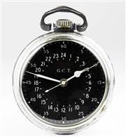 Sale 8402W - Lot 82 - HAMILTON WWII US AIR FORCE OPEN FACE POCKET WATCH; with hacking seconds, black dial signed G.C.T with white seconds and 24 hour trac...