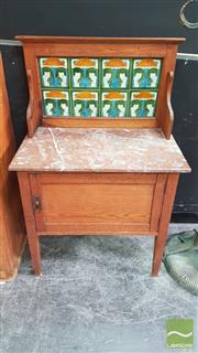 Sale 8404 - Lot 1002 - Marble Top Tiled Back Oak Wash Stand