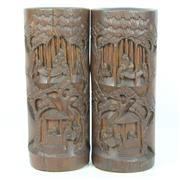 Sale 8412A - Lot 12 - Carved Bamboo Pair Of Brush Pots height - 31cm