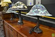 Sale 8472 - Lot 1004 - Pair of Leadlight Shade Table Lamps & Larger Example (3)