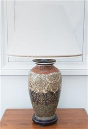 Sale 8562A - Lot 153 - An Italianate style ceramic table lamp with cream rope edge shade, total H 73cm