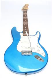 Sale 8698 - Lot 19 - Freedom Electric Guitar in Blue with Whammy Bar (needs restringing)