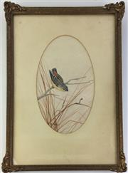 Sale 8793 - Lot 57 - Neville Cayley, Spotted Warbler, on oval matt, image 27 x 16cm