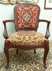 Sale 8881H - Lot 90 - A tapestry covered elbow chair of generous proportions. Height of back 91cm