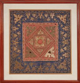 Sale 9108H - Lot 20 - A framed vintage Indonesian marriage square embroidery  78x78cm