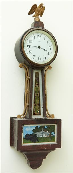 Sale 9103M - Lot 593 - A wall mount Empire style clock with eight day movement and Eagle finial and reverse glass image to case. Height 45cm