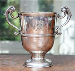Sale 9120H - Lot 62 - An Irish hallmarked sterling silver twin handled commemorative trophy marked United Hospitals Athletic Club to front, Dublin mark to...