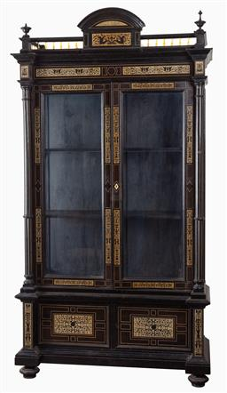 Sale 9135H - Lot 66 - A spectacular 19th century European Ivory inlaid display cabinet, with glass fronts and sides and two door cupboard on bottom, minor...