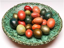 Sale 9136 - Lot 244 - A studio potted charger (Dia 38cm) together with a collection of composite eggs