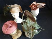 Sale 7982B - Lot 144 - Four elegant straw fascinators of various colours
