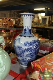Sale 8226 - Lot 74 - Blue & White Landscape Vase