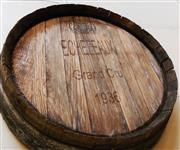 Sale 8256A - Lot 59 - A vintage French oak wine barrel end by Echezeaux Grand cru 1836. Size: 60 cm wide