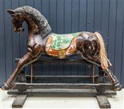 Sale 8287A - Lot 40 - A spectacular French hand finished rocking horse, thought to be 1920s era. Wonderful detail. 73cm high x 94cm wide x 46cm deep (base...