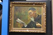 Sale 8332 - Lot 2001 - W.H. Chan (XX) - Reading the Paper, oil on canvas, 40 x 50cm, signed lower left