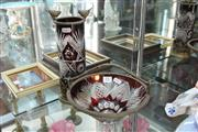 Sale 8360 - Lot 11 - Czech Cut Ruby Glass Vase & Dish