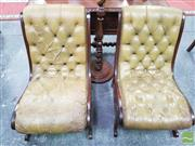 Sale 8416 - Lot 1096 - Pair of Victorian Style Slipper Chairs, upholstered in buttoned & distressed olive green leather & stretcher base