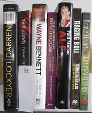 Sale 8418S - Lot 54 - BOOKS ON THE BRONCOS PLAYERS. (7 books) Darren Lockyer, Wally Lewis Forever the King, Wayne Bennett The Man in the Mirror, Brisbane...