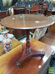 Sale 8444 - Lot 1053 - Victorian Mahogany Apprentice Supper Table, with round inlaid top, turned pedestal & triform base (possible alteration)