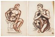 Sale 8511A - Lot 5072 - James Gleeson (1915 - 2008) (2 works) - Classical Nude Studies 50 x 37cm, each