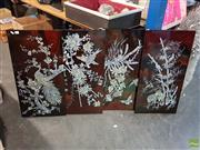 Sale 8619 - Lot 2065 - 4 Mother of Pearl Inlaid Panels incl Birds Nesting
