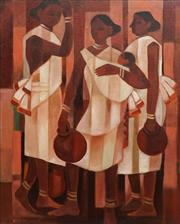 Sale 8791 - Lot 571 - Harish Raut (1925 - 2002) - Standing Figures 75 x 60cm