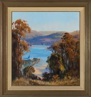 Sale 8818A - Lot 51 - BChristine HuberDRI Boats on RiverDR oil on boardR 70 x 65cmR signed and dated lower right 89