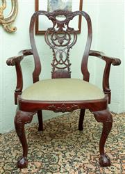 Sale 8881H - Lot 100 - A Chippendale style mahogany chair with sage green velvet upholstery. Height of back 100cm