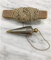 Sale 8951P - Lot 336 - Vintage Iron and Brass Plumb Bob Marked S with String and Crude Bobbin (10cm)