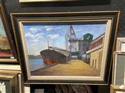 Sale 8995 - Lot 2095 - Beryl Oliver Port Scene, 1986 oil on board, frame: 44 x 54 x 4 cm, signed and dated lower right