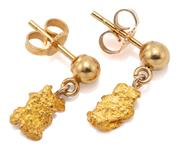 Sale 9066 - Lot 302 - A PAIR OF GOLD NUGGET EARRINGS; each a 14ct gold bead set post suspending a small 22ct gold nugget, length 13.5mm, wt. 1.81g.