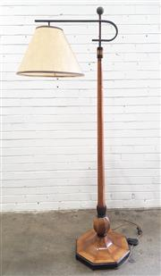 Sale 9076 - Lot 1015 - Art Deco inlaid timber floor lamp with drop shade (h:185cm)
