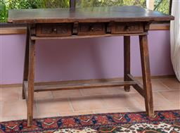 Sale 9120H - Lot 63 - A continental oak peg construction work table with three drawers presenting geometric patterns over stretcher base, Height 84cm x Wi...