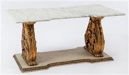 Sale 9135H - Lot 70 - A neoclassical French painted and parcel gilt and marble top low table. 1.03M Width x 52cm Depth x 50cm Height