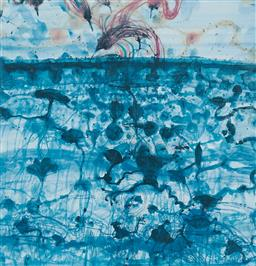 Sale 9189A - Lot 5085 - JOHN OLSEN (1928 - ) 'Sunbird & Lily Pond, 1997' offset lithograph, ed. 74/99 64 x 61.5 cm (frame: 94 x 85 x 3 cm) signed and dated .