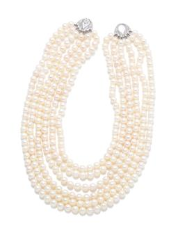 Sale 9253J - Lot 316 - A MULTISTRAND PEARL NECKLACE; 6 strands of  7-7.5mm round cultured pearls to fancy nickel silver hook clasp, length 40cm.