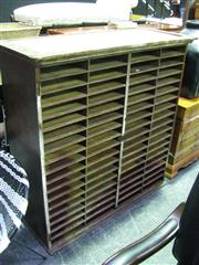 Sale 7937A - Lot 1115 - Vintage Pigeon Hole Unit with 4 Rows of 18 Compartments