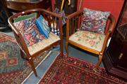 Sale 7962B - Lot 2 - Pair of Edwardian Maple Tubchairs