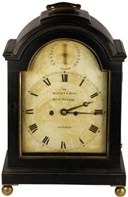 Sale 8065 - Lot 4 - Bentley & Beck George III Royal Exchange Ebonised Bracket Clock