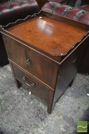 Sale 8335 - Lot 1032 - George III Mahogany Commode, with shaped gallery top, two doors & slide out faux drawers (lacking fitting)