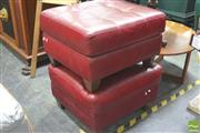 Sale 8418 - Lot 1062 - Natuzzi Pair of Red Leather Ottomans