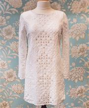 Sale 8474A - Lot 43 - A lovely Elie Tahari 100% white linen shift dress, featuring cutout square fabric design, excellent condition size 12
