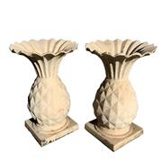 Sale 8562R - Lot 83 - Pair of White Painted Cast Iron Pineapple Form Urns (H: 43cm)