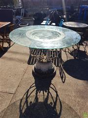 Sale 8566 - Lot 1430 - Ornate French Style Glass Top Table (78 x 120)