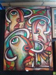 Sale 8573 - Lot 2009 - Artist Unknown (Cuba), Figures, mixed media on canvas, 81 x 59cm, signed lower right