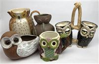 Sale 8725A - Lot 46 - Small group of glazed pottery wares including jugs and vases in owl form. tallest 26cm