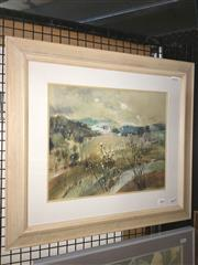 Sale 8771 - Lot 2064 - Linda Rees - Country Valley watercolour, 45 x 61cm (frame), signed -