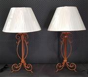 Sale 8951 - Lot 1027 - Set of Four Rust Coloured Wrought Iron Table Lamps - 5558 (H: 67cm)