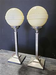 Sale 8967 - Lot 1003 - Good Pair of Chrome Art Deco Table Lamps with Milk Glass Shades (H:63cm)