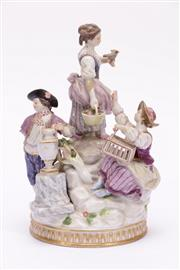 Sale 9015 - Lot 62 - A Late C19th Meissen Figural Group (H 21cm, Missing Arm and repairs to another, some chips)